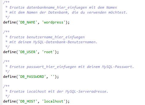 Config.php anpassen für neue Datenbankverbindung