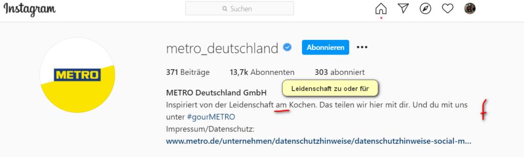 Screenshot Instagram Metro mit schiefem Motto Leidenschaft am Kochen