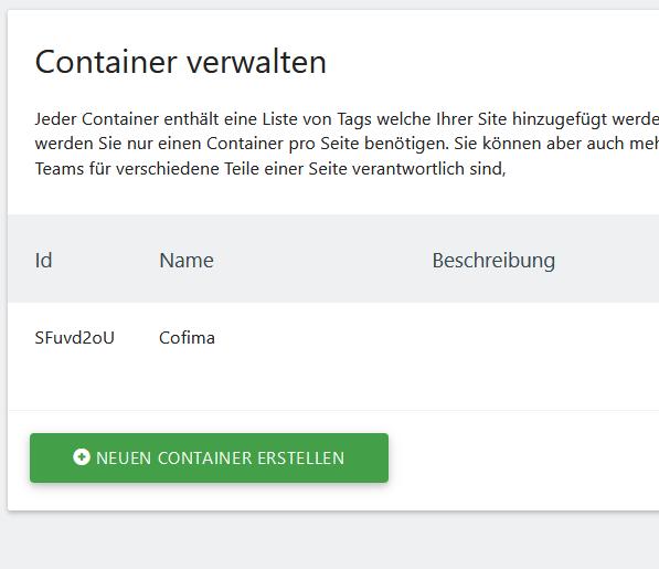 container für matomo tag manager erzeugen