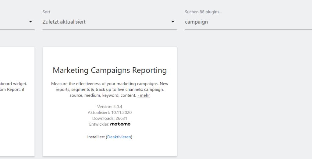 Matomo Marketplace Kampagnen Plugin