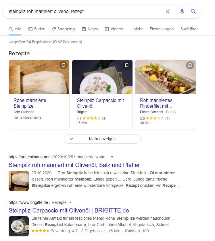 Bildanzeige Googlesuche nach Rezepten